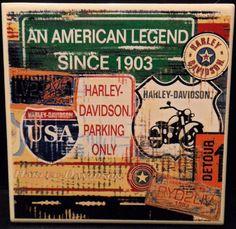 """Harley Davidson Trivet Kitchen Bar Motorcycle Ceramic Square cork back 6"""" x 6""""   #Unbranded"""