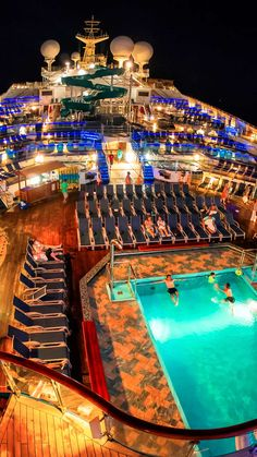 The pool decks of the Carnival Liberty cruise ship are filled with light, but not filled with people, late at night. Read all about it at Burnsland. Carnival Legend Cruise, Carnival Liberty Cruise, Crown Princess Cruise Ship, Princess Cruises, Cruise Travel, Cruise Vacation, Cruise Ship Party, Disney Fantasy Cruise, Best Cruise Ships