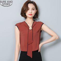 2017 New Summer new Korean version sleeveless chiffon shirt with bow V collar strapless loose size women blouse 960E  30