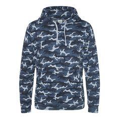 Just Hoods JH014 Blue Camo Hoodie - £19.49