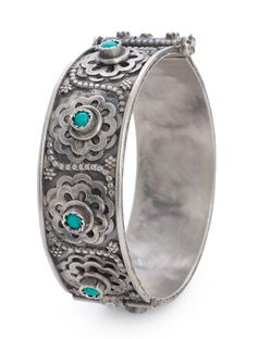 Buy Silver Turquoise Floral Hinged Opening Bangle (Bangle Size 2/4) Semi Precious Stone Jewelry Tribal Diaries Etched Vintage Online at Jaypore.com