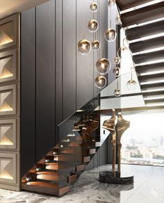 For all lovers of Contemporary Interiors, Studia 54 creates the most luxurious designs that leaves us surrendered by the way it seduces us in this whole scenario. Staircase Design Modern, Luxury Staircase, Modern Villa Design, Home Stairs Design, Modern Stairs, Interior Stairs, Home Room Design, Home Interior Design, Modern Luxury