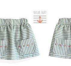 Sailor skirt pattern  girls toddler sewing pdf by KikoiPatterns