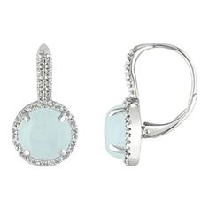 Round Milky Aquamarine Diamond Drop Earrings Style Me Rounding