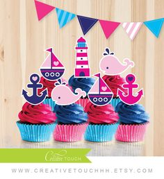 Nautical Cupcake Toppers Pink and Navy Blue by CreativeTouchhh