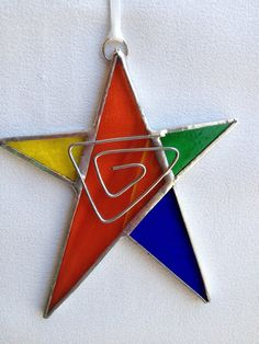 Stained Glass Ornament  Star with Wire by MamaAgees on Etsy, $7.50