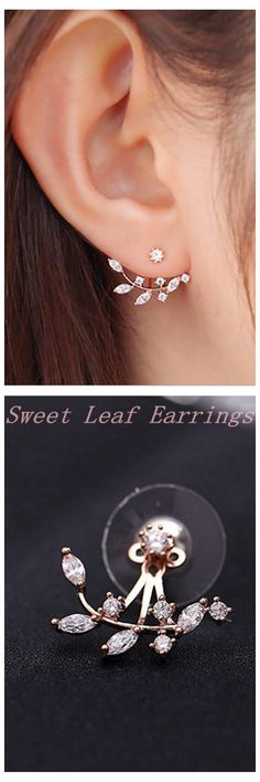 925 Silver Needle Leaves Zircon Crystal Stud Earrings