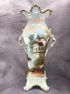 """Bawo & Dotter Elite Limoges Hand Painted Castle Scene 18"""" Handled Vase"""
