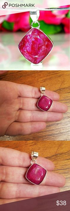"Kashmiri Sterling Ruby Pendant So pretty. 1.4"" Marked 925 (sterling silver) Jewelry"