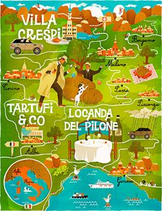 'A Map of the World According to Illustrators and Storytellers' by Gestalten is a series of colourful, whimsical maps showing a different interpretation of cartography. Map Of Italy Regions, Italy Map, Modern Graphic Design, Graphic Design Inspiration, Graphic Art, Travel Maps, Travel Posters, Pictorial Maps, Travel Illustration