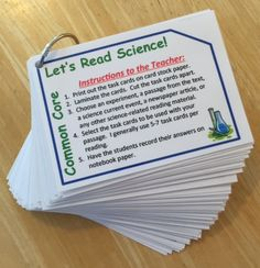 You can use this set of 75 common core science task cards with ANY Science Informational Text Readings. Simply choose the cards you want to use with any article, reading, or passage from the text. Elementary Science, Middle School Science, Teaching Science, Science Labs, Earth Science, Teaching Ideas, Education Quotes For Teachers, Quotes For Students, New Teachers
