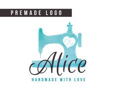 Premade Logo handmade logo sewing logo small by HayahDesigns