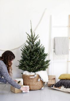 A Scandi-Chic Christmas Tree For Small Spaces - Front + Main West Elm + The Merrythought – Scandinavian Christmas Tree Styling Scandinavian Christmas Trees, Small Christmas Trees, Nordic Christmas, Noel Christmas, Simple Christmas, Winter Christmas, Christmas Tree Basket, Minimal Christmas, Christmas Ideas