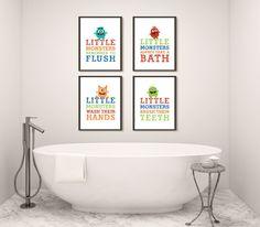 Boy Monster Bathroom Art Prints for Children