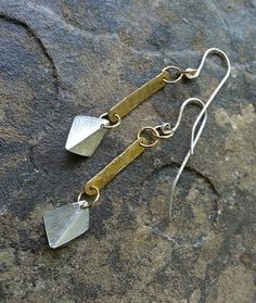 Modern mixed metal drop earrings hammered earrings by MarkingTime