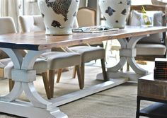 """Lucia"" Trestle Dining Table from Saltaire Restoration"