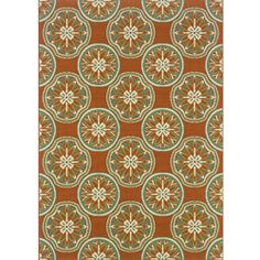 StyleHaven Floral Orange/Ivory Indoor-Outdoor Area Rug - x (Machine Made-made Polyproplyene), Style Haven (Polypropylene, Floral & Botanical) Indoor Outdoor Area Rugs, Outdoor Living, Traditional Outdoor Decor, Patio Rugs, Deck Patio, Natural Fiber Rugs, Machine Made Rugs, Rectangular Rugs, Floral Rug
