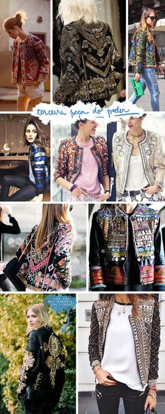 Moda: Por um mundo com mais jaquetas maravilhosas Diy Fashion, Ideias Fashion, Fashion Outfits, Womens Fashion, Fashion Trends, Estilo Hippy, Mode Boho, Embroidered Jacket, Mode Style