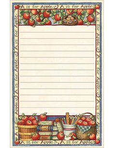 Susan Winget Apples Notepad wishes Printable Recipe Cards, Printable Paper, Boarders And Frames, Apple Decorations, Label Paper, Graph Paper, Decoupage Paper, Pop Up Cards, Writing Paper