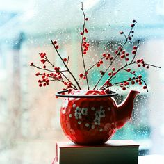 winter tea pot and berries