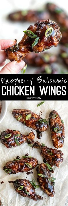 These crispy Raspberry Balsamic Baked Chicken Wings are baked, not fried, and slathered in a sweet, tangy, and rich homemade sauce.