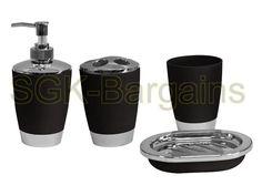 Stylish 4pc Bathroom Accessory Set Tumbler Lotion Dispenser SoapTray Black in Home, Furniture & DIY, Bath, Bath Accessory Sets | eBay