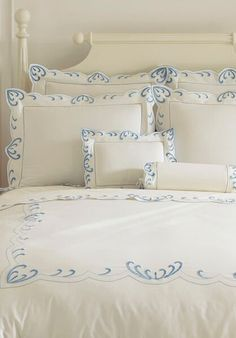 WAVES From sea to shining sea our waves are embroidered on Egyptian cotton assuring a restful sleep to one and all. Shabby Bedroom, Bedroom Decor, Embroidered Bedding, Bed Linen Sets, Linens And Lace, Fine Linens, Delft, Beautiful Bedrooms, Bed Covers