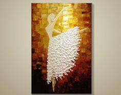 Pintados a mano blanco marrón bailando bailarina por LisaHomeArts