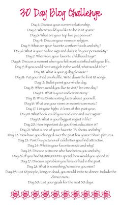 Pink Cupcake: 30 Day Blog Challenge - ideas for blog posts