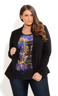 City Chic - BOYFRIEND PONTE BLAZER - Women's plus size fashion