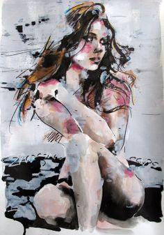 "Saatchi Art Artist: thomas donaldson; Ink 2014 Drawing ""1-23-14 seated figure"""