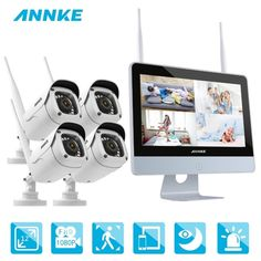 ANNKE 4CH 1080P FHD WiFi NVR Video Surveillance System 12inch HD LCD Screen Automatic Screen Saver 1080P HD Bullet IP Cameras Review Wireless Security Camera System, Cctv Security Systems, Wireless Security Cameras, Wireless Camera, Security Cameras For Home, Surveillance System, Camera Surveillance, Camera Reviews, Lcd Monitor