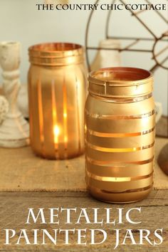 Metallic Painted Jars -- use rubber bands for masking and make these fun painted jars!