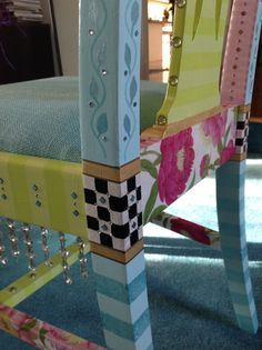 Whimsical Hand Painted Chairs, love hanging beads