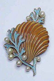 Trifari turquoise seaweed, pearl & coral enamel shell