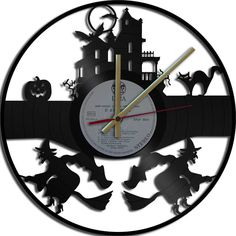 Halloween Theme Wall Clock  Upcycled vinyl records