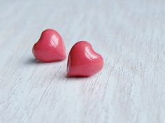 Coral heart earrings tiny heart studs heart by NestBirdDesigns