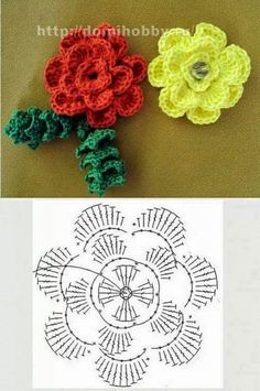 My chest Inspirations: Spring Flowers Diy Crochet Flowers, Crochet Flower Tutorial, Crochet Flower Patterns, Crochet Stitches Patterns, Fabric Flowers, Crochet Diagram, Crochet Motif, Crochet Doilies, Crochet Cross