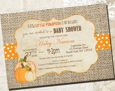 Little Pumpkin Baby Shower Invitations- DIY Printable Rustic Burlap Autumn Shower Invitations