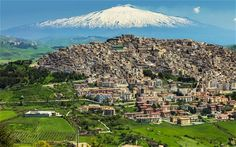 Gangi, with Mt Etna in the distance; the town is an hour's drive from Cefalu