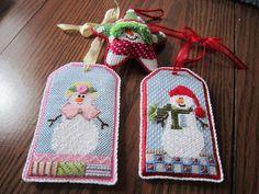 Maggie star snowman needlepoint ornament & Sew Much Fun snowlad & snowman needlepoint ornaments