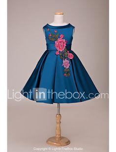 Vestido de bola corto / mini vestido de niña de flores - encaje de encaje sin mangas joya cuello con apliques de lan ting novia ® 2017 - €62.15