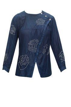 Natural indigo bandhani wrap shirt in cotton/silk : Pernia's Pop-Up Shop.