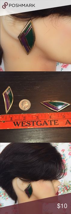 Vintage 80s enamel curved long post earrings Deep rich colors in enamel on gold tone pierced earrings. These earrings are very unusual, pointed on both ends and curved backwards towards the back of your head. Vintage Jewelry Earrings
