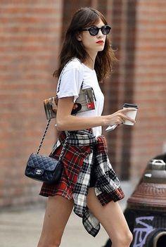 Plaid-shirt-tied-around-waist-street-style-Alexa-Chung