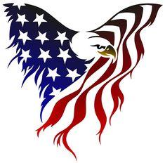 A badass creative tattoo design of an eagle made of the American flag.