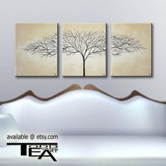 24 inch, 3 piece, Canvas, set, Large, Tan, light tan, Beige, Silhouette, Trees, wall art, Original painting, tree, wall decor by ToddEvansArt, $50.00