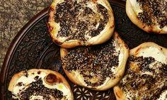 Yotam Ottolenghi's manakish (flatbread with za'atar) - Black-eyed bean feteh (with za'atar) and Amaranth stuffed mushrooms with za'atar and pine nuts