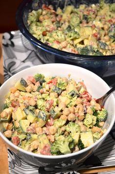 Chickpea, Almond and Broccoli Salad with Lemon Tahini Dressing