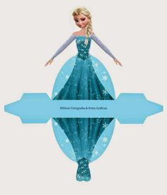Elsa from Frozen: Free Printable Dress Shaped Box.